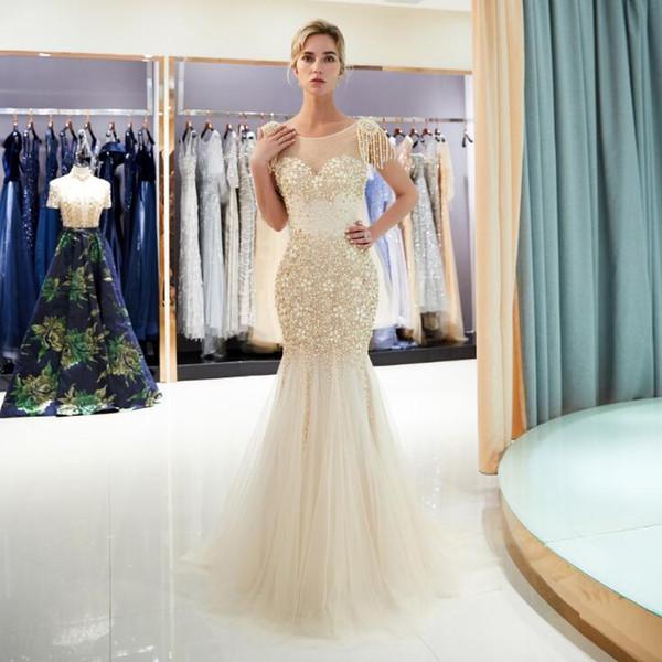 2018 cristallo sirena color oro perline abiti da sposa gioiello collo elegante da sposa abiti da sposa unico nappa abito da festa di nozze 71697