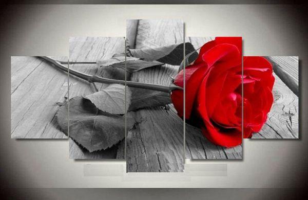 Plein carré 5D DIY Diamant Peinture rouge Rose Orchidée Nature morte Diamant Broderie Point De Croix Mosaïque Autocollant Décor À La Maison 5 pcs