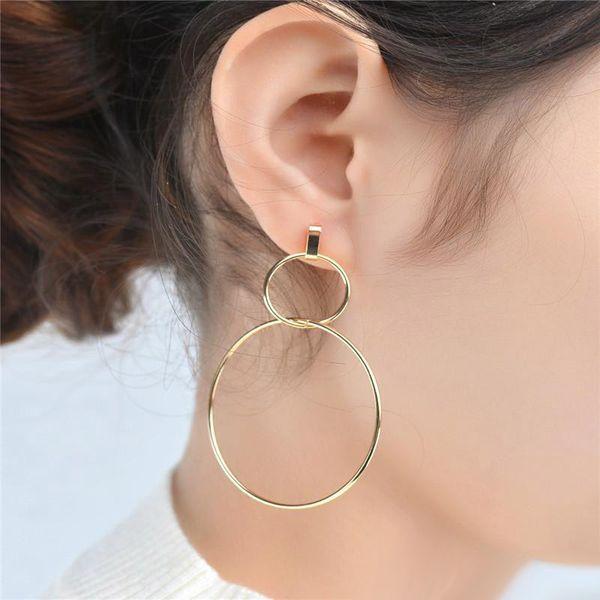 New European Big Hoops Pendientes de doble círculo para mujeres, niñas, plata, oro, pendientes de aro con encanto