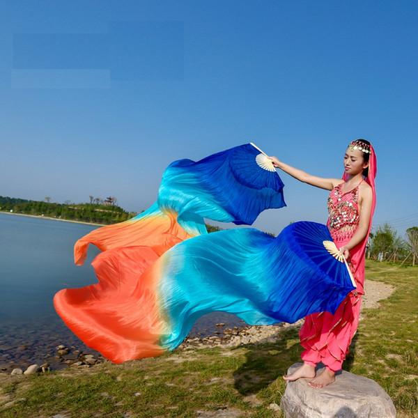 best selling Stage Performance Property Dance Fans 100% Silk Veils Dip Dye Colored 120cm 150cm 180cm Women Belly Dance Fan Veils