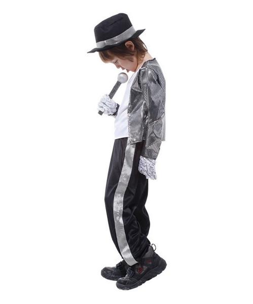 Garçons Costume d'Halloween Michael Jackson Billie Jean Enfant Costume De Déguisement Enfants Performance Vêtements ensembles de vêtements de danse