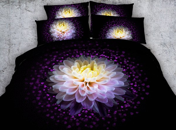 3D heart love Duvet Cover bedding sets queen floral Bedspreads Holiday Quilt Covers Bed Linen Pillow Covers sunflower rose yellow blue red
