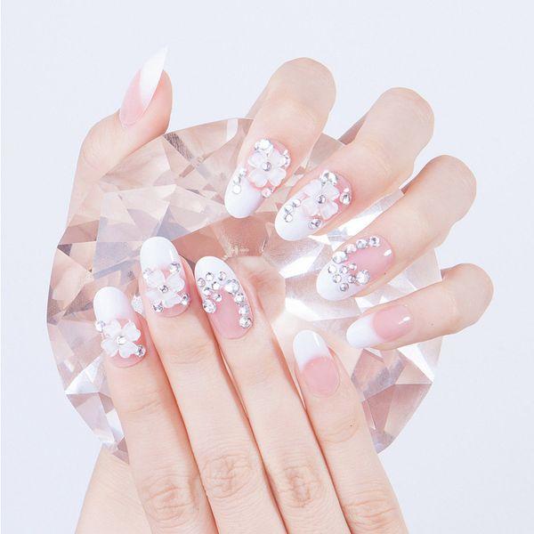 24pcs/Set Elegant Round Head French False Nails Rhinestone Floral Bride Nail Art Tips with Glue sticker Artificial Fake Nails