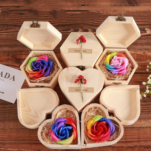 San Valentino mini scatola di legno rosa fiore arcobaleno colore fatto a mano rosa sapone fiore regalo per la mamma giorno insegnante giorno di Natale 0286