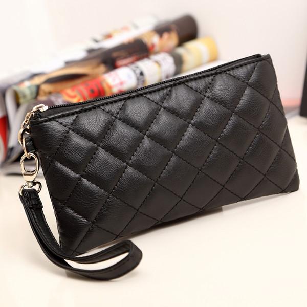 Die 2018 neue Null Brieftasche lange Version der koreanischen Soft-Leder Damen Schaffell Grat kleine Handtasche