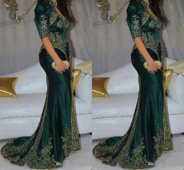 Robes de soirée vert foncé magnifique broderie perlée paillettes style indien manches demi de bal robes de soirée robe de soirée sirène haut