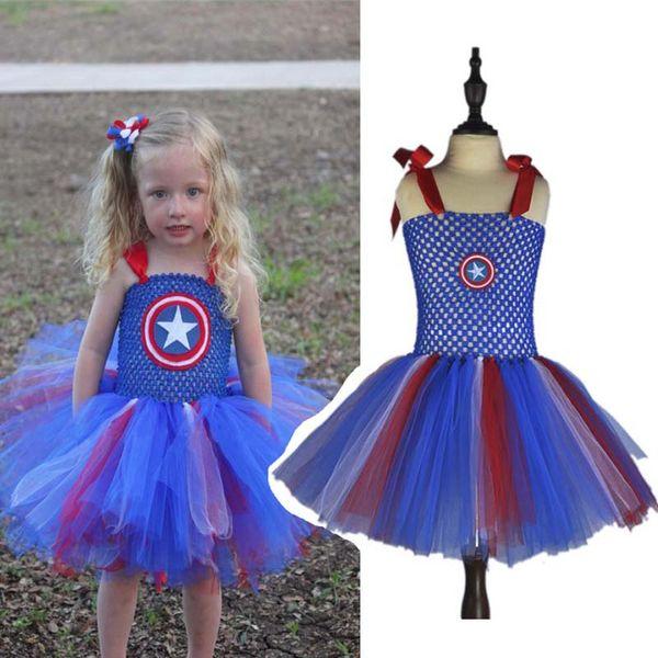 Capitán Americ Super Girl Baby Kids Party Dresses Princess Girls vestido de Halloween de baile Tutu niños Super héroe traje trajes de Cosplay