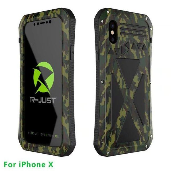 New R-jUST Waterproof Shockproof X-Men Toughened Glass Metal Case For Apple Iphone X Silicone Aluminum Back Cover Cases