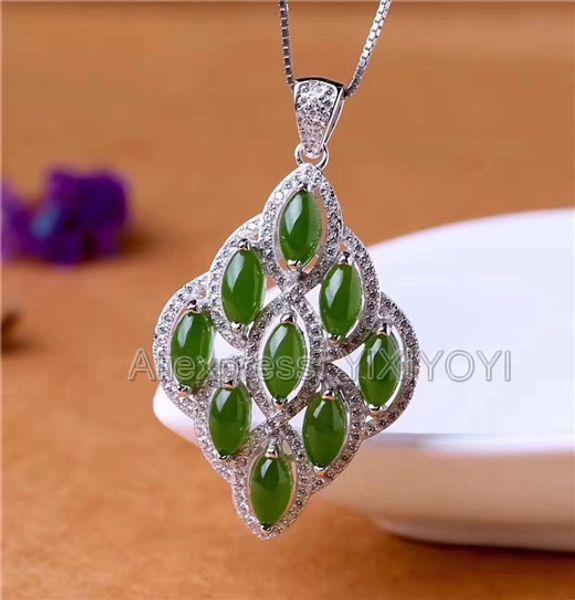 Argent 925 Jasper Vert Hetian Jade Perles Inlay Flower Design Pendentif chanceux + Le cadeau de chaîne Collier avec pendentif Bijoux fille