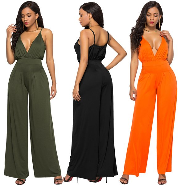 Summer 2018 Fashion Women Jumpsuit Spaghetti Strap Sleeveless Sexy V-Neck Loose Legs Jumpsuits Solid Color Elegant Women Pants