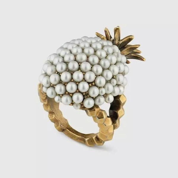 Nouvelle conception Vintage perle grappe d'ananas anneaux pour les femmes bijoux de mode déclaration de cristal anneaux anneau de fruits en or