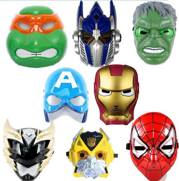 Máscaras de LED Animación para niños Cartoon Spiderman Máscara de luz Masquerade Máscaras completas Disfraces de Halloween Fiesta de regalo