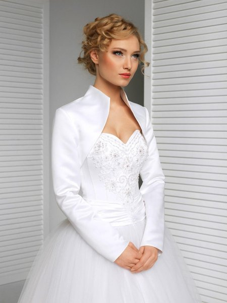 White Satin long sleeves top rated custom made size color wedding jacket satinhigh collar bride accessories bridal bolero shrug wraps 2019