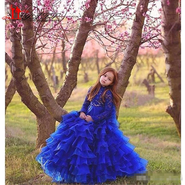 Royal Blue Glitz Girls Pageant Dresses 2019 Ball Gown High Neck Long Sleeves Lace Tiered Organza Ruffles Cupcake Flower Dress For Girls