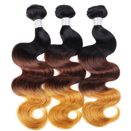 Ishow Hair Ombre Brazilian Hair Body Wave 1b/4/30 Human Weave Bundles Can Buy 3 Bundles 3 Tone Non Remy Hair Extensions
