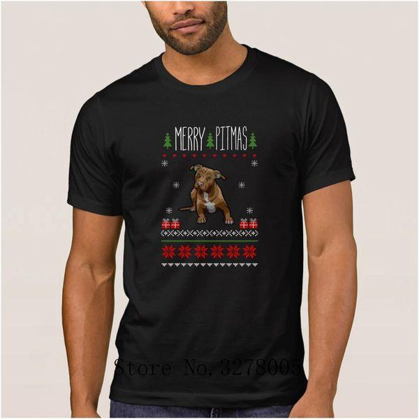 Fashion T Shirt Merry Pitmas Puppy Christmas Sweater T-Shirt For Men Spring Autumn Plus Size 3xl Regular Tshirt For Men Hot Sale