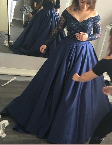 Плюс размер платья выпускного вечера темно-синий атлас кружева с плеча A-line с длинными рукавами вечерние платья на заказ