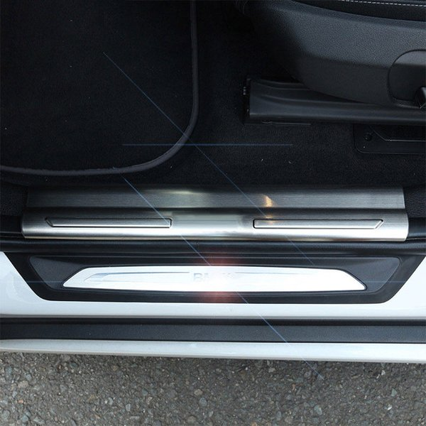 4pcs Stainless Steel Inner Door Sill Scuff Threshold Plate For BMW X1 F48 2016 2017 Car Accessory