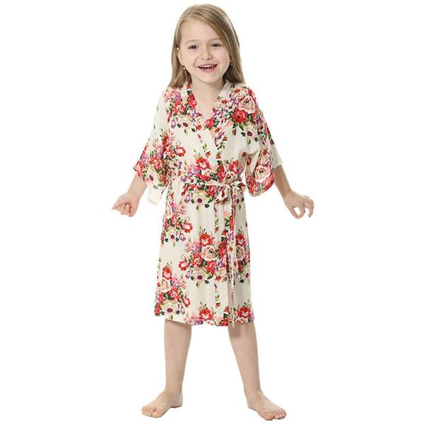 Pink Summer Children Girl's Floral Printed Kimono Robe for Little Girls Birthday Party Sleepwear Bathrobe Cotton nightie