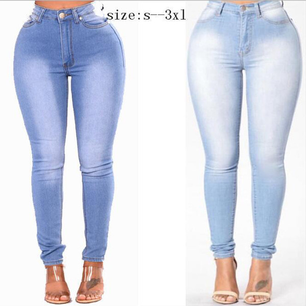 Tallas grandes de cintura alta Jeans pitillo Push Up Stretch Jeans Denim Bodycon Pencil Pants Mujer Pantalones elásticos de bolsillo