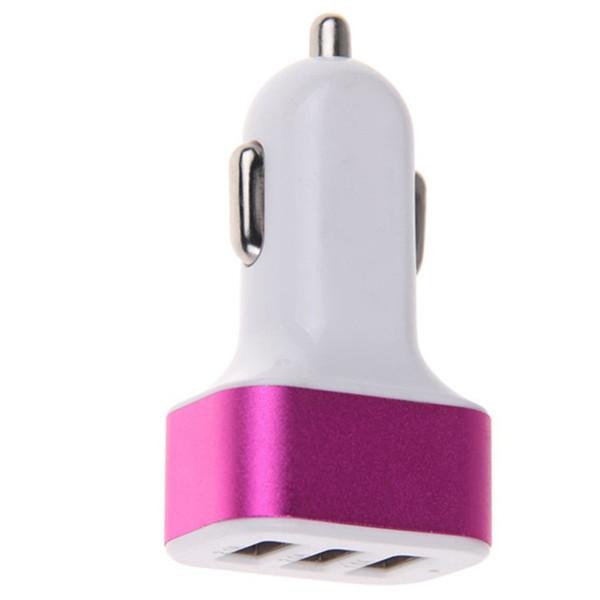 20pcs chargeur allume-cigare universel alliage d'aluminium triple ports USB pour adaptateur de voiture Sony LG 3-port pour Tablet PC 2.1A 1A 1A