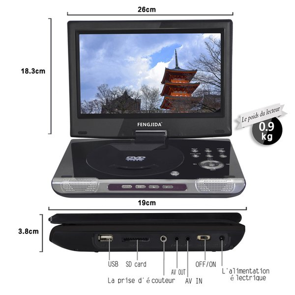 wholesale 10inch Portable Multimedia Video Player Car DVD Player Digital Multimedia Player with FM TV Game Card Read 3 Hour Battery life
