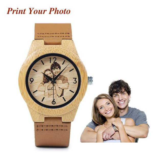 BOBO BRID Private Custom Watch for Lovers Photos UV Print on Wood Watch Logo Customized Item as Anniversary Gift