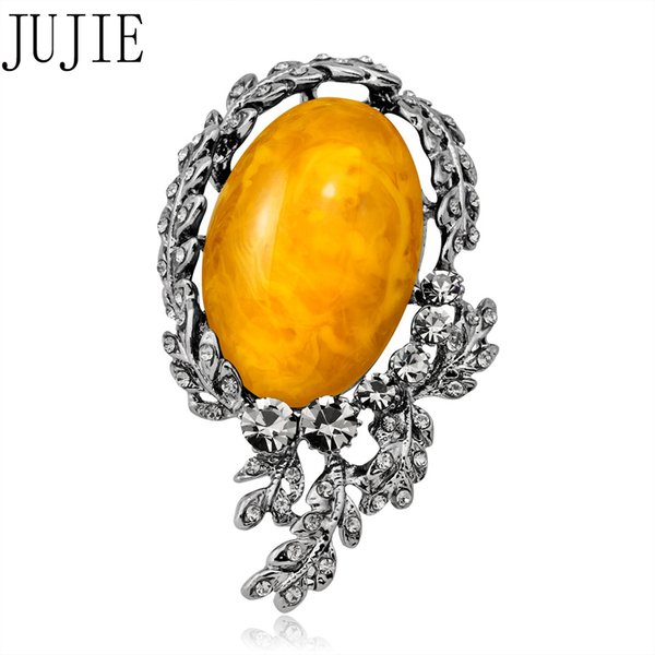 JUJIE Retro Flower Brooches For Women 2018 Vintage Big Stone Brooch Pins Wedding Bouquets Fashion Plant Jewelry