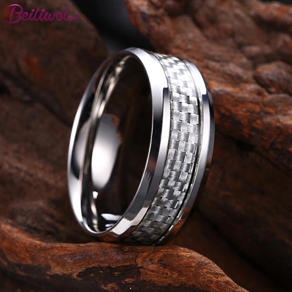 Beiliwol Моды кольца для мужчин простой стиль полированной нержавеющей стали ювелирные изделия синий черный углеродного волокна покрытие никогда не исчезают