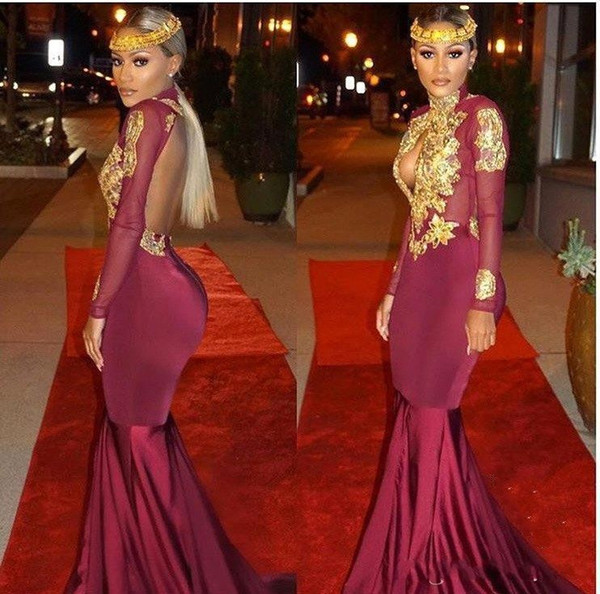 South African Burgundy Evening Gowns Mermaid Sexy High Neck Gold Appliques Keyhole Neck Prom Party Dress 2019 Latest Open Back Formal Gowns