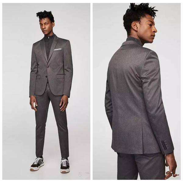 2018 Latest Grey Pant Designs Slim Mens Suit Set Casual Skinny Simple Men Tuxedo 2 Piece (Jacket+Pants) Wedding Tuxedos