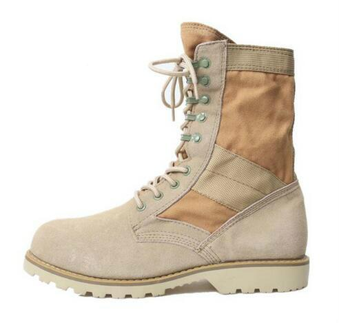 Military Crepe Boots Men's Ankle Boots Cow Suede Lace-up Anti-skid Shoes Cool Desert Boots khaki ,Army green,Black
