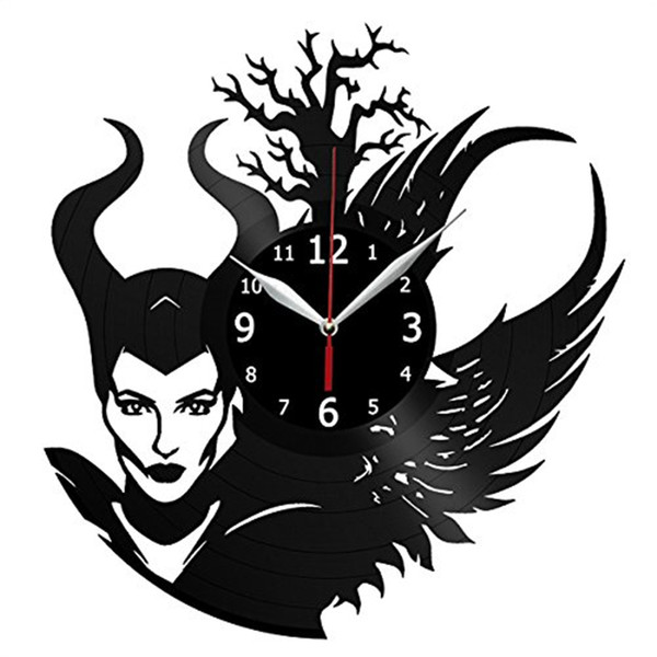 Witch personality vinyl wall clock Simple modern home decor crafts creative handmade gifts Decorated living room black quartz clock