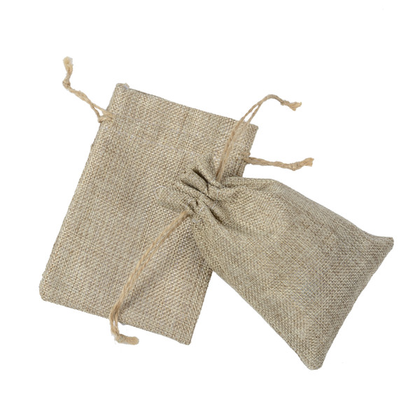 top popular 10*15cm Double layer high quanlity Natural Linen drawstring bags Jewelry Pouch Gift hessian Wedding favor bags Jute bags burlap package 2020