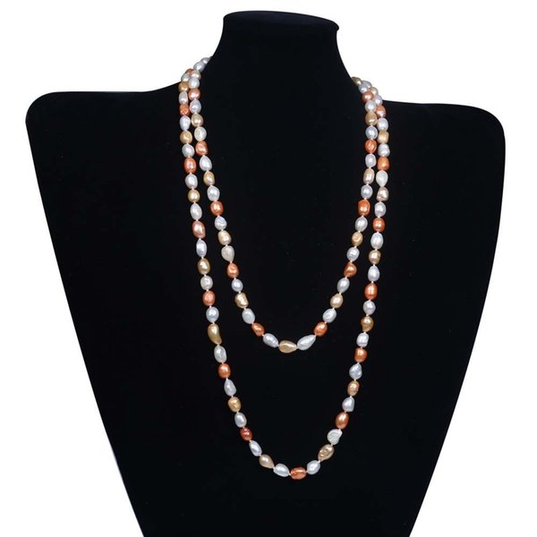 Freshwater Natural Baroque 9-10mm Pearl Rice Necklace Women Gift Long