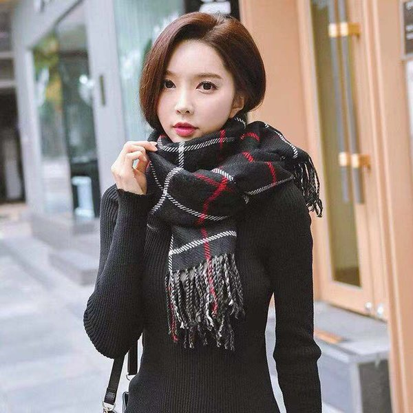 In 2018 the new Winter muffler women with extra thick wool plaid thickened double girl style
