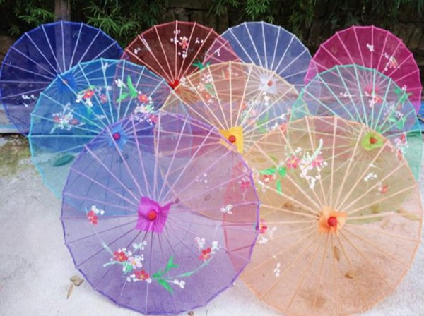 20 unids Wedding Clear Umbrella Flower seda paño vintage umbrella dance umbrella bamboo para niños adultos envío gratis
