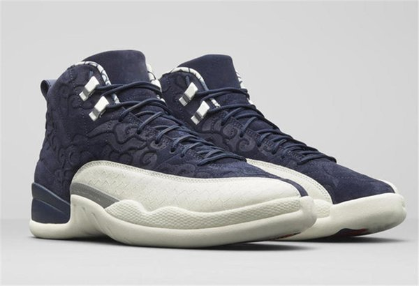 2018 12 International Flight 12S Tokyo Japan Blue Men Basketball Shoes Authentic College Navy 130690-445 Carbon Fiber Sneakers With Box