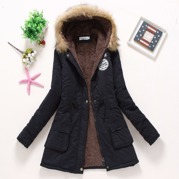 2019 Winter Coat Women 2016 New Parka Casual Outwear Military Hooded Thickening Cotton Coat Winter Jacket Fur Coats Women Clothes D21