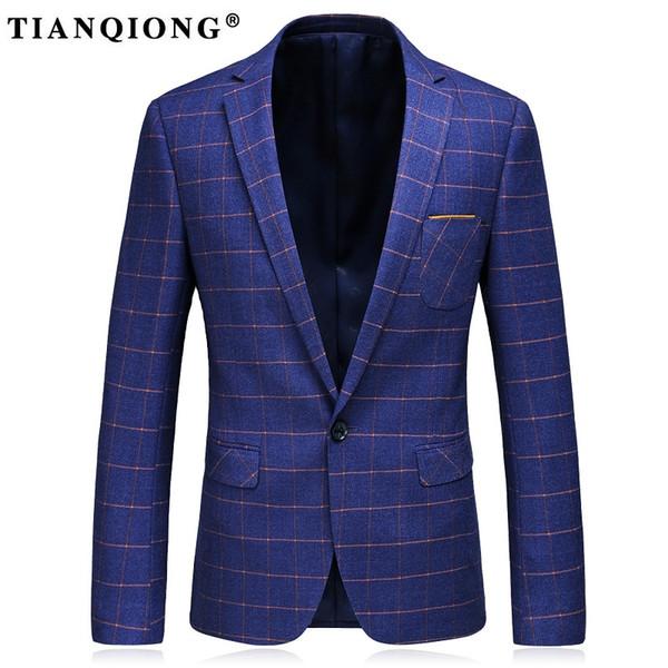 TIAN QIONG Blazer Erkekler Gri Ekose Yün Blazer Erkek Örgün Ceket Blazers Şık erkekler için Rahat Slim Fit Bir Düğme Takım Ceket