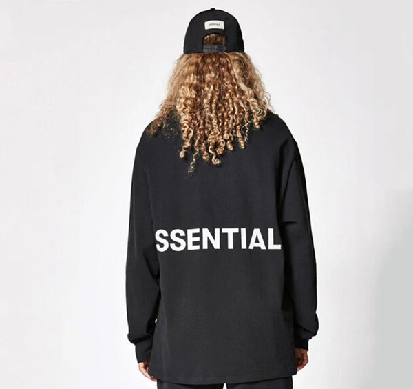 Essentials Print Fear Of God Tees Men Women High Street Fashion Loose Long Sleeved T-shirt Lovers Hip Hop Spring Autumn Pullover Tshirt Tops
