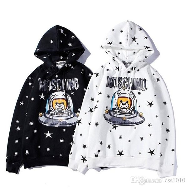 New Arrivals 18AW Moschinos Men Women Long sleeve fashion Gypsophila UFO bear Hooded sweater Outdoor clothes