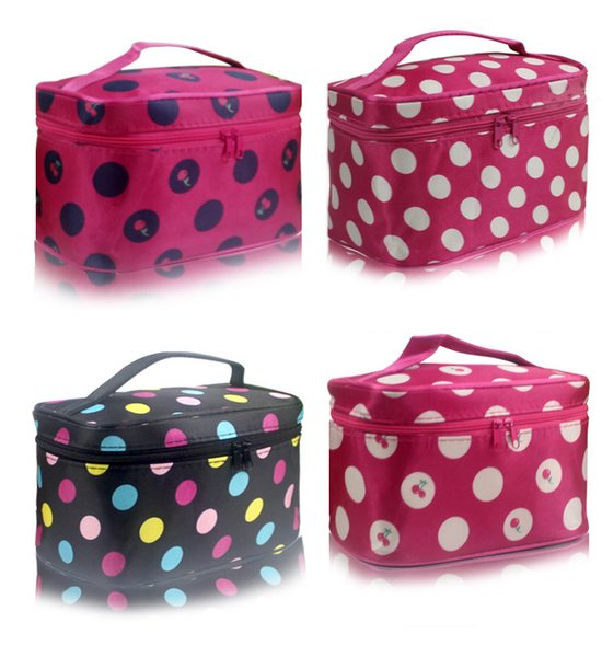 Hot Sale Folding Travel Cosmetic Bag Portable Toiletry Pouch with Mirror Inside Polka Dot Heart Design Wholesale and Free Shipping