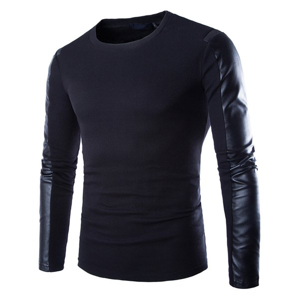 Men Leather Sweatshirt Black Long Sleeve Pullover PU Patchwork Leather Slim Fitness Compression Shirt Men Pullover Masculino