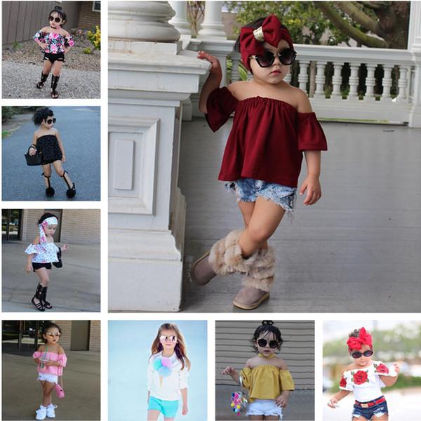 Conjuntos de ropa para niños 2018 Traje de verano para niños Ropa para bebés Ropa de flores Tops + pantalones cortos de mezclilla Trajes para niñas Ropa infantil para niños pequeños