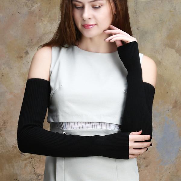 20 colores mujer tejer manga brazo de lana 40 cm / 50 cm / 60 cm manoplas de punto largo sin dedos guantes calentadores de brazo de invierno regalo YG125