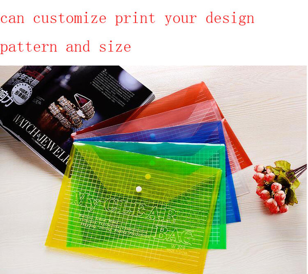 PP plastic A4 file bags pencil bag with snap fastener transparency gridding file bags can customize print your design pattern and size