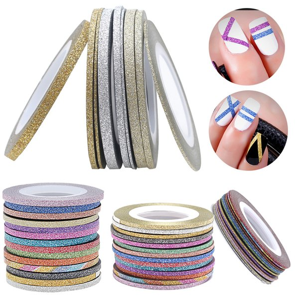 2000pcs paillettes Nail Art Striping Tape Nail Line autocollant 1mm 2mm 3mm mat fil métallique Line Strip Bande livraison gratuite