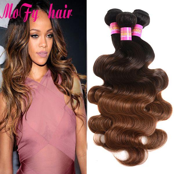 Ombre Human Hair Extensions Virgin/Brazilian Peruvian Malaysian Indian Body Wave 3 Three Tone Brown Blonde 1B/4/30 Ombre Hair Weave Bundles
