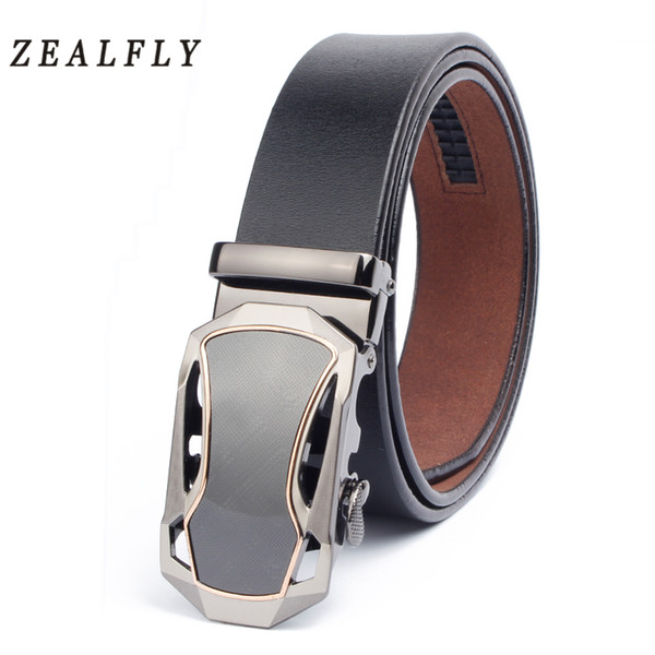 Mens Belts High Quality Cow Genuine Leather Belts For Men Sports Car Automatic Belt Buckle Male Jeans Leather Ratchet Belt Strap